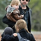 Knox Jolie-Pitt looked cool in a mini leather jacket for a trip to San Servolo Island in March 2010.