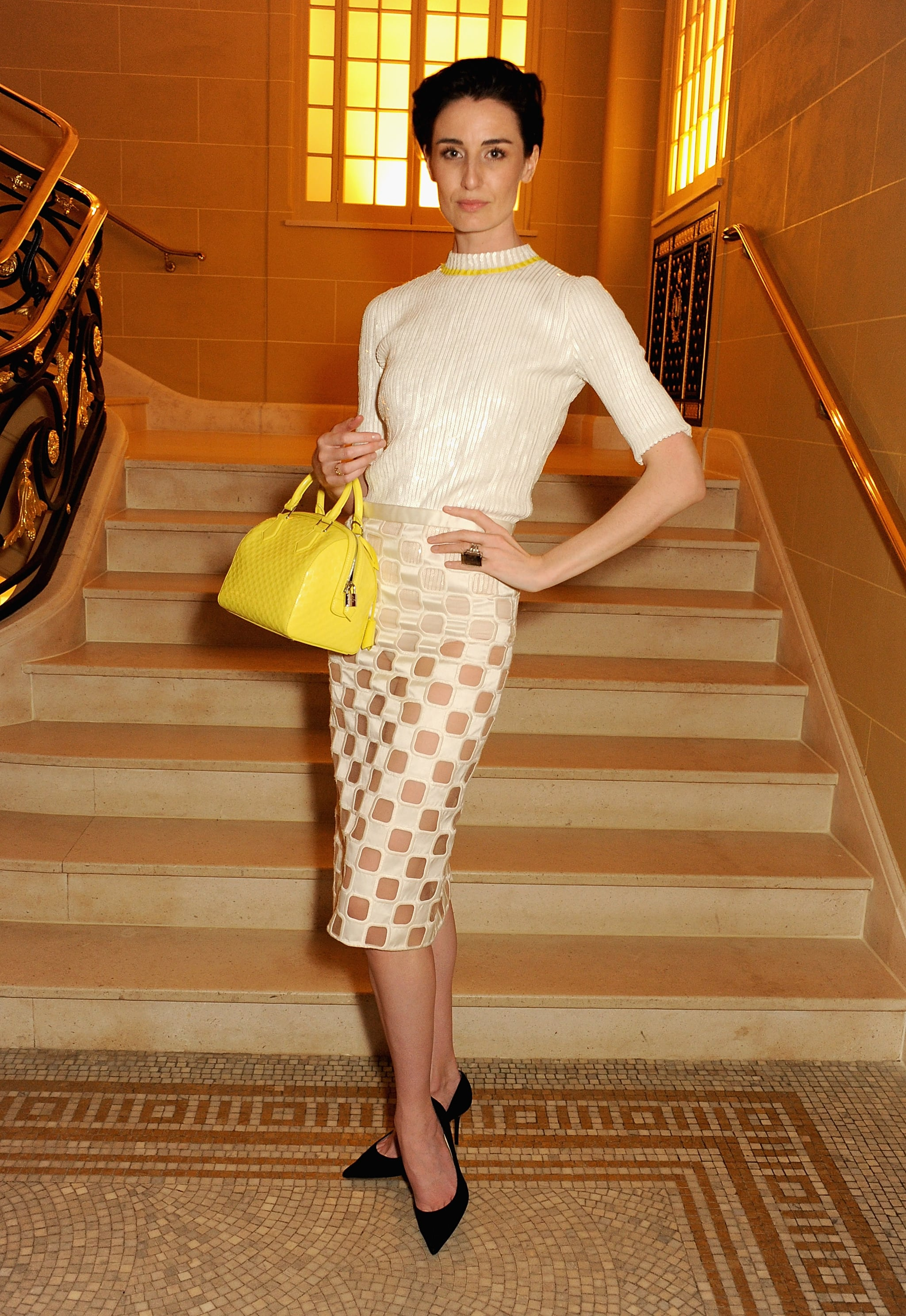 Erin O'Connor wore Louis Vuitton at Vogue and Alexandra Shulman's dinner honoring Michael Kors in London.