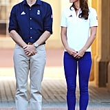 Prince William and Kate Middleton got in the Olympic spirit at Buckingham Palace on the eve of the Olympics.