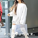 Ariana Grande Outfit: A White Sweatshirt and Choker Necklace