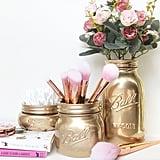 Gold Mason Jar Brush Holder