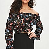 Missguided Black Floral Long Sleeve Crop Top