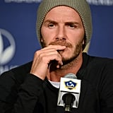 David Beckham answered media questions at an LA Galaxy press conference.