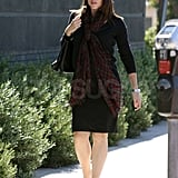 Jennifer Garner cozied up with a plaid scarf.