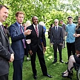 Prince Harry had Olympic Gold medalist Darren Campbell by his side while hosting a reception for the athletes of the school games.