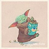 Baby Yoda Eating Popcorn