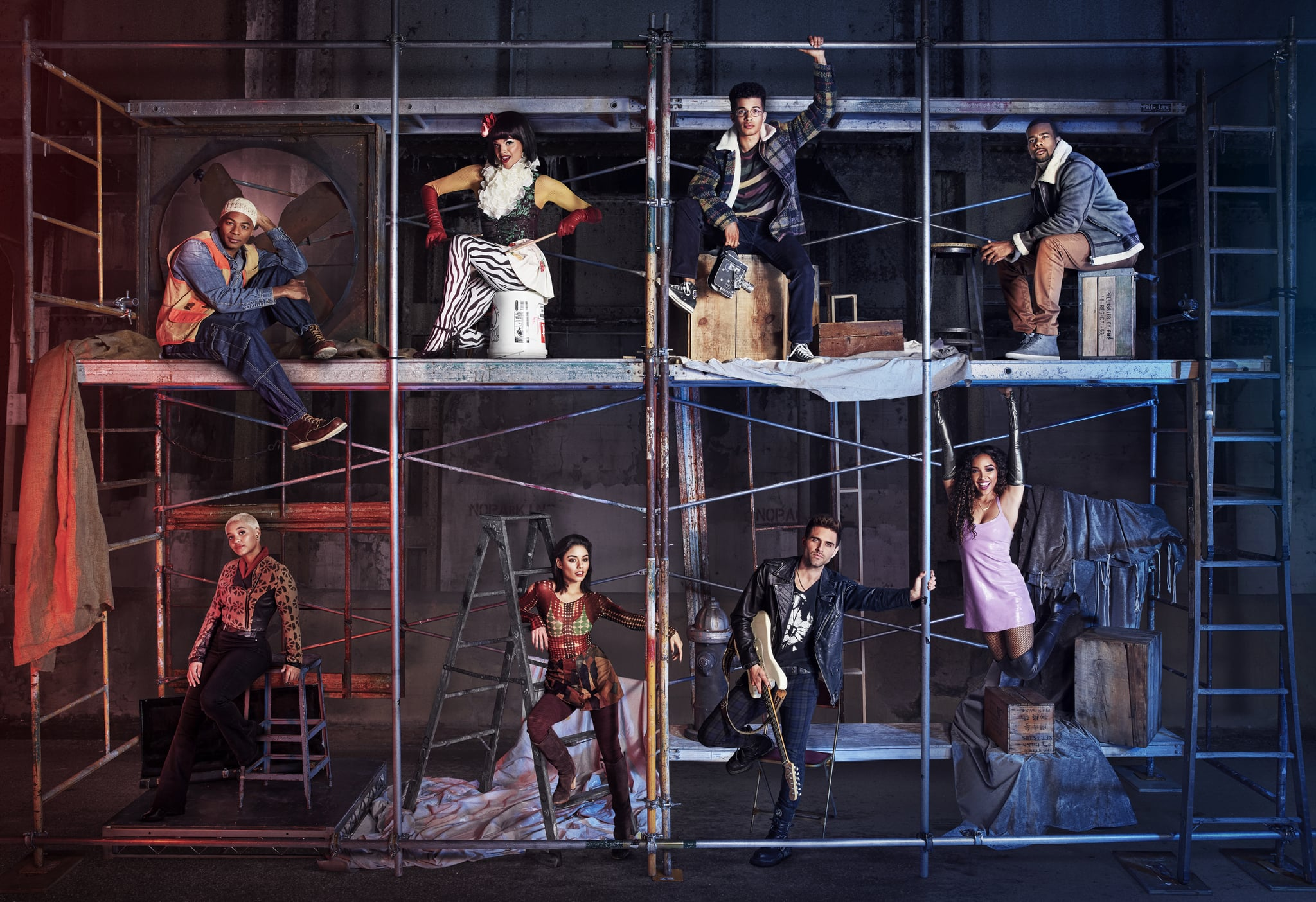 RENT: Top L-R to Bottom L-R: Brandon Victor Dixon as Tom Collins, Valentina as Angel Dumont Schunard, Jordan Fisher as Mark Cohen, Mario as Benjamin Coffin III, Kiersey Clemons as Joanne Jefferson, Vanessa Hudgens as Maureen Johnson, Brennin Hunt as Roger Davis and Tinashe as Mimi Marquez in RENT airing Sunday, Jan. 27 (8:00-11:00 PM ET LIVE/PT TAPE-DELAYED) on FOX. ©2019 Fox Broadcasting Co. CR: Pamela Littky/FOX