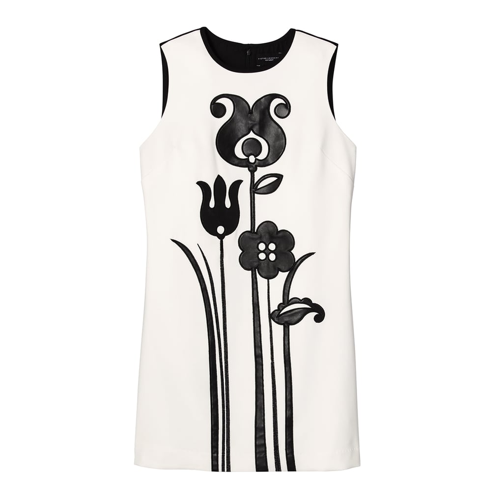Black and White Mod Shift Tulip Appliqué Dress ($40)