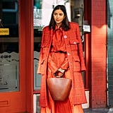 Make a statement in head-to-toe red. Bonus points for finding a wall to match.