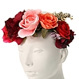 Claire's Rosy Red Oversized Flower Crown Headwrap ($15)