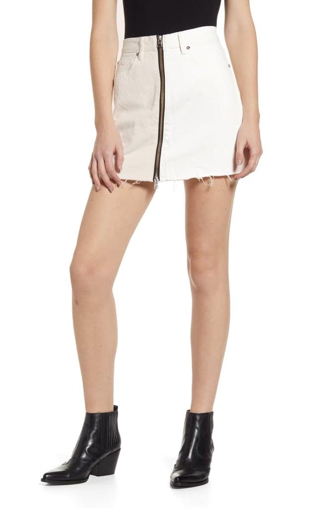 AllSaints Lomo Front & Back Zip Denim Miniskirt