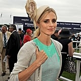 Laura Bailey donned a sky-high fascinator on Ladies Day at the Epsom Derby.