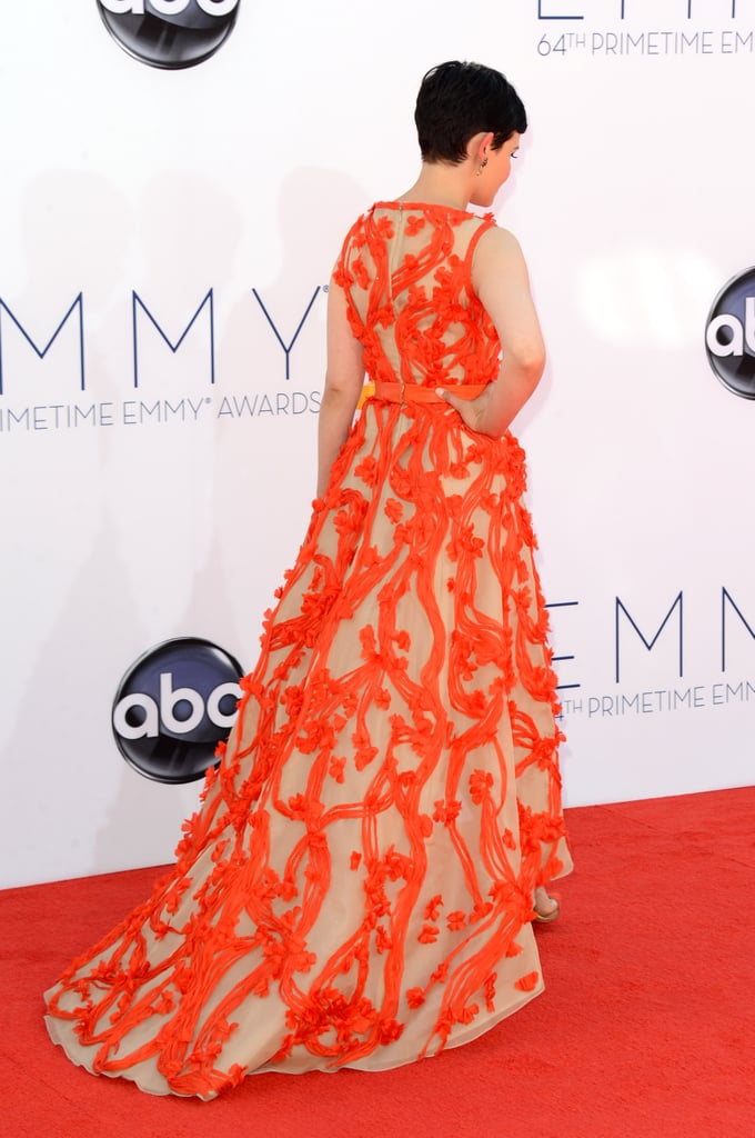 Ginnifer Goodwin sported an orange gown on the red carpet.