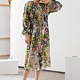 &Other Stories Silk Blend Floral Midi Dress