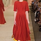 We can imagine her pulling off the colorblock in a more subtle way with this full pleated midi. She'd likely opt for pumps rather than flats. Roksanda Spring 2017.
