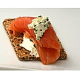 Snack: Whole Wheat Crisps With Cottage Cheese and Salmon