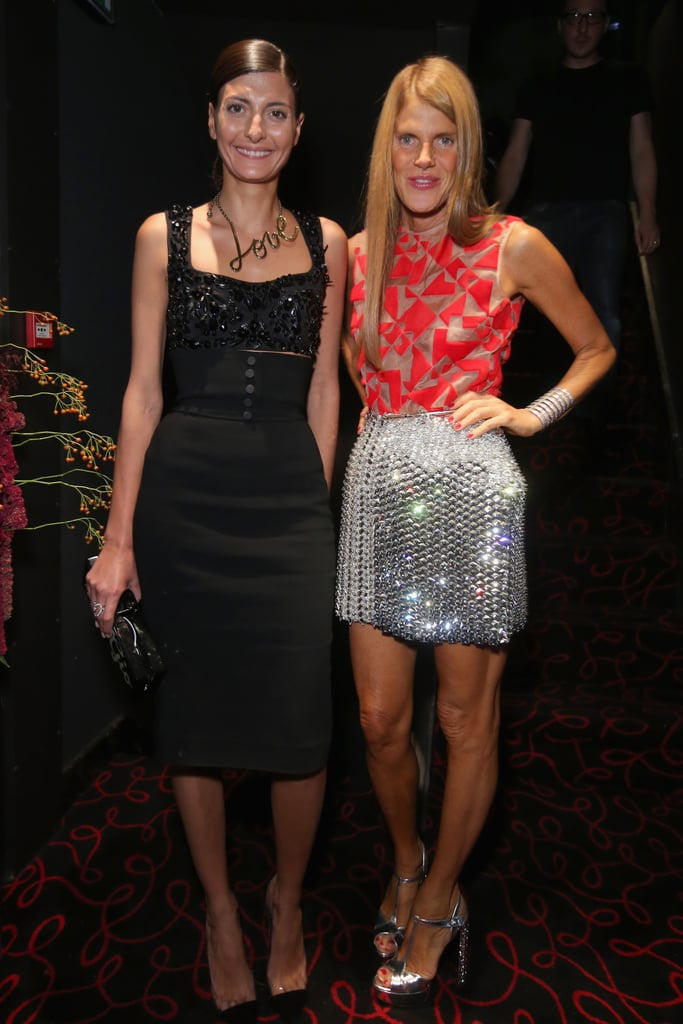 Giovanna Battaglia joined Anna Dello Russo to help open the Moncler boutique in Paris wearing eye-catching designs.