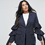 Unique 21 Hero Pinstripe Blazer With Ruffle Sleeves