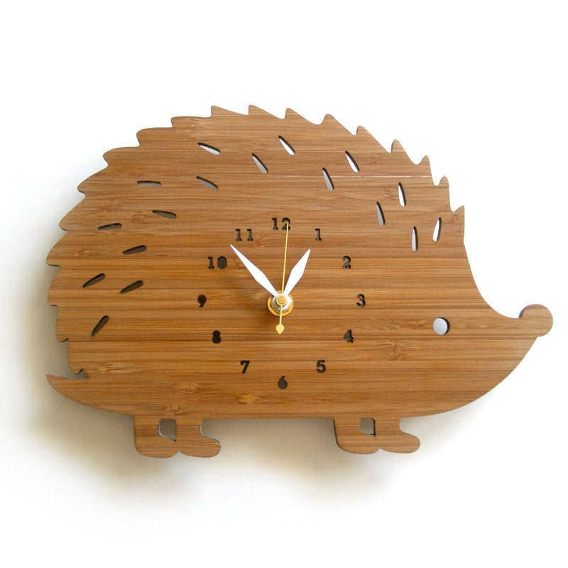 Hedgehog Bamboo Wall Clock