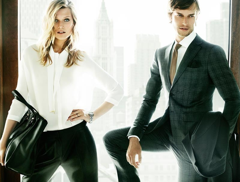 Crisp white blouses, slick accents, and tailored pants are par for the course in Massimo Dutti's campaign.