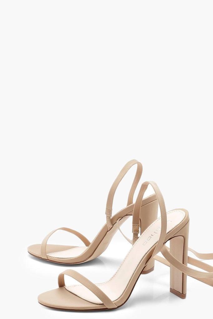 2be7944da4c7 Boohoo Skinny Block Heel Wrap Strap Sandals