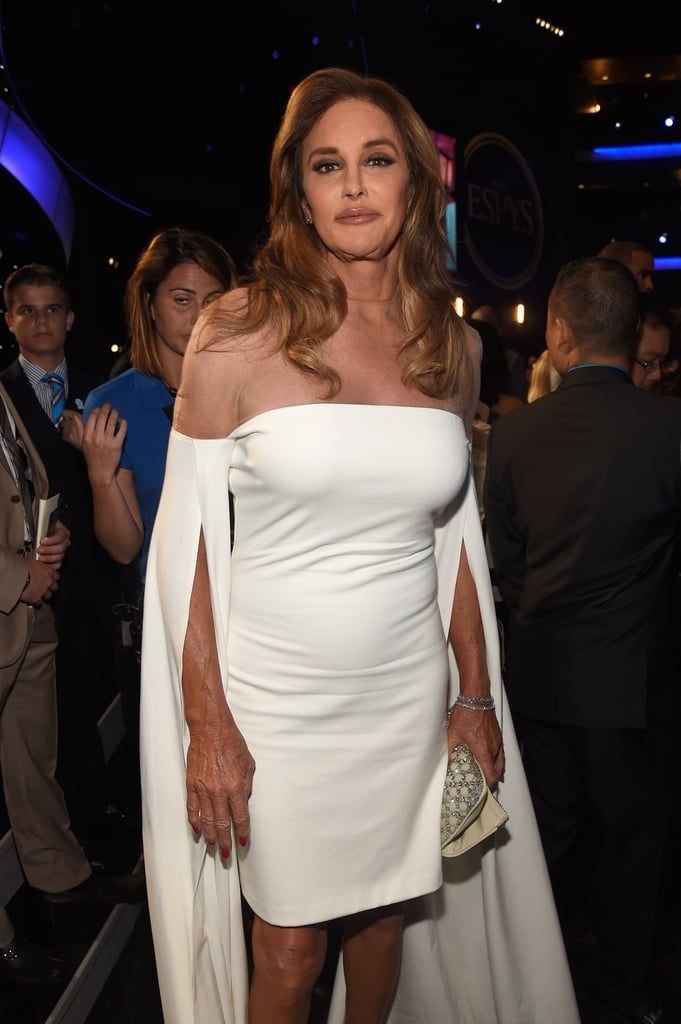 "Caitlyn Jenner made a glamorous appearance at the ESPY Awards in LA on Wednesday night. While the reality TV star skipped the red carpet, she did show off some serious leg in a white strapless dress while posing for photos backstage. Hours before arriving at the fete, Caitlyn took to Instagram to share a couple of photos of herself getting ready with none other than Kim Kardashian. ""Feeling great, off to the #ESPYS :) Thank you @michaelcostello for the dress and @kimkardashian for your #styling help!!!,"" she captioned one of the photos.   The event marks one year since Caitlyn was honored with the Arthur Ashe courage award, which recognizes athletes who ""possess strength in the face of adversity, courage in the face of peril, and the willingness to stand up for their beliefs no matter what the cost."" Keep reading to see more of her night, then check out even more stars who popped up at the fete."