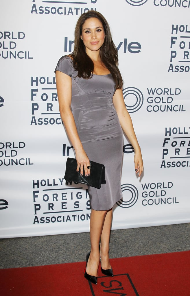 In September 2012, Meghan wore a gray dress to the Hollywood Foreign Press Association Party.