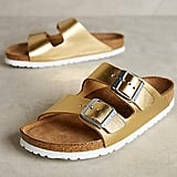 Birkenstock Arizona Slides Gold 38 Euro Sandals ($135)
