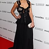 Jessica Alba went with a tulle and ribbon-embellished Alexander McQueen gown.