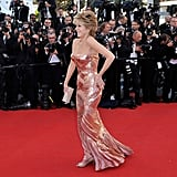 Jane Fonda danced across the red carpet at the Cannes Film Festival.