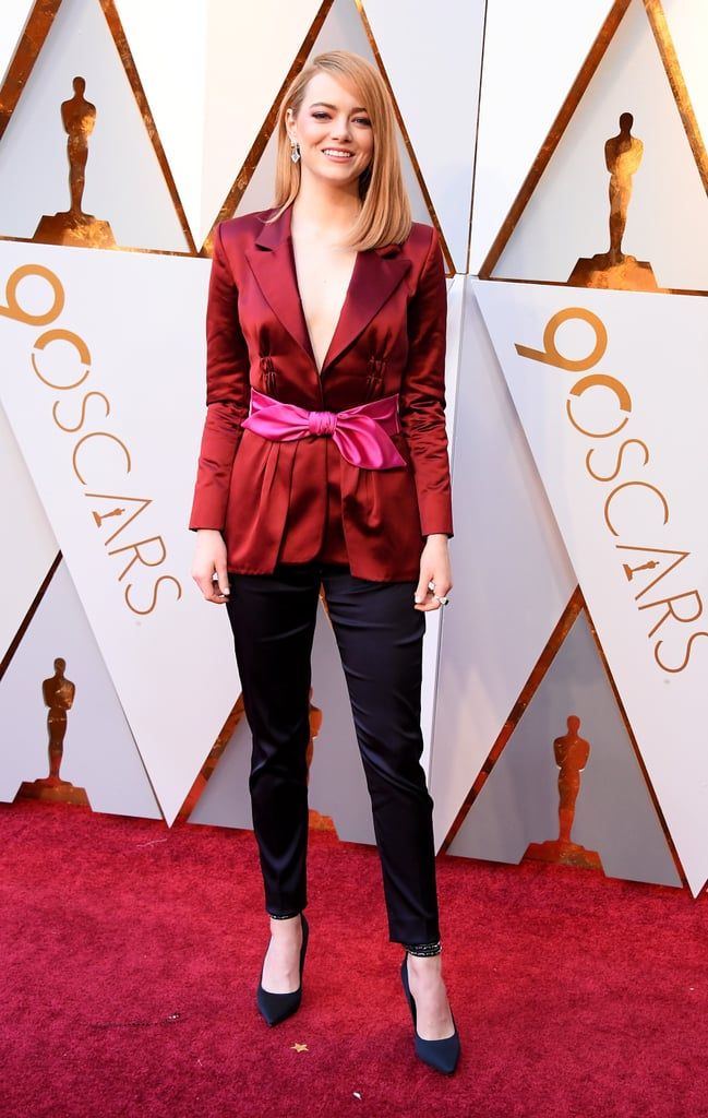 Emma Stone Louis Vuitton Trouser Suit at the Oscars 2018 ...