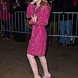 Dakota Fanning wore a glittering pink Dolce & Gabbana dress for the event.