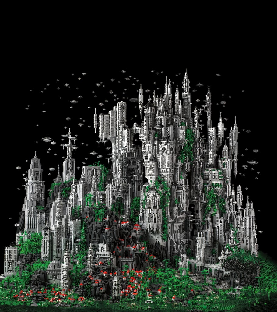 "The book's pièce de résistance — and cover subject — is Mike Doyle's ""Contact 1"" a futuristic cityscape built of 200,000 Lego bricks. Source: Contact 1: The Millennial Celebration of the Eternal Choir at K'al Yne, Odan (2013) © Mike Doyle"