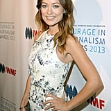 Olivia Wilde debuted her baby bump at the International Women's Media Foundation's annual Courage in Journalism Awards in Beverly Hills on Tuesday night.