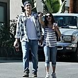 Ashton Kutcher and Mila Kunis left a friend's in LA.