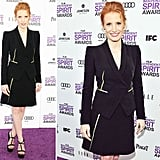 Jessica Chastain looked sleek in a strong-shouldered Giorgio Armani tuxedo blazer-and-skirt combo. The neon yellow piping added a fun element of surprise to an otherwise pared-down menswear-inspired look.