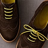 Brogues are huge with men right now (OK, so they have been around for the better part of a century, but they are extra popular now), and contrast laces are also starting to trend — take part in the trend by sporting these brown suede brogues by Boden  ($168), the lime green laces add a pop of unexpected color that will set you apart from the pack.   — Robert Khederian, editorial intern