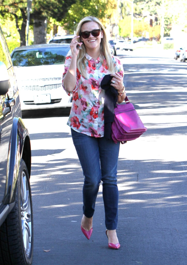 Reese Witherspoon lent major oomph to her jeans in this Madewell floral blouse ($72) while out and about in LA.