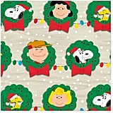 Peanuts Gang Christmas Wreaths Wrapping Paper Roll