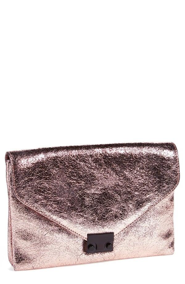 Loeffler Randall Lock Metallic Leather Clutch