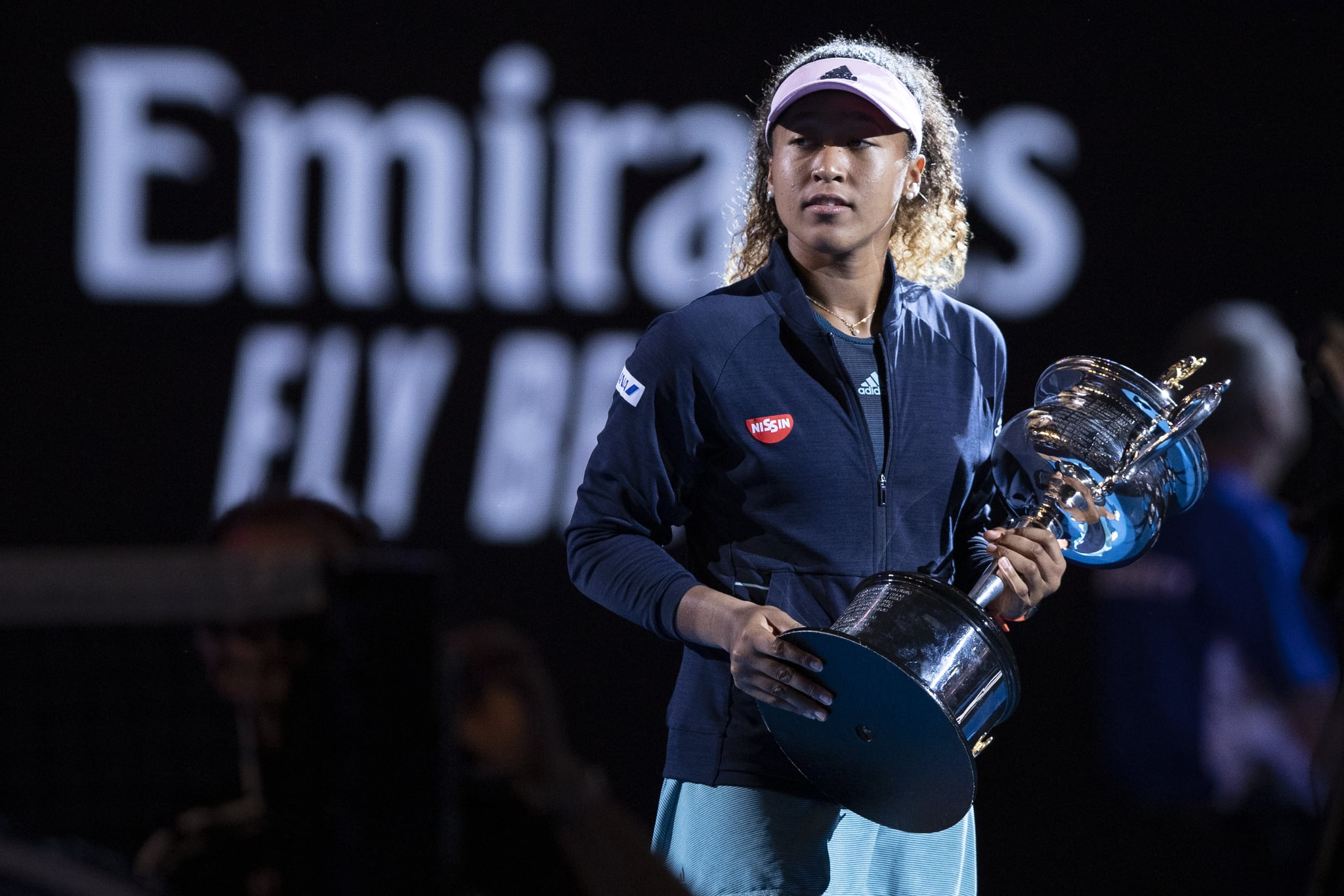 MELBOURNE, AUSTRALIA - JANUARY 26:  Naomi Osaka of Japan poses for a photo with the Daphne Akhurst Memorial Cup following victory in her Women's Singles Final match against Petra Kvitova of the Czech Republic during day 13 of the 2019 Australian Open at Melbourne Park on January 26, 2019 in Melbourne, Australia.(Photo by Fred Lee/Getty Images)