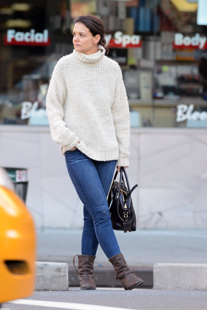 Katie Holmes wore jeans and a cream knit for her outing in NYC