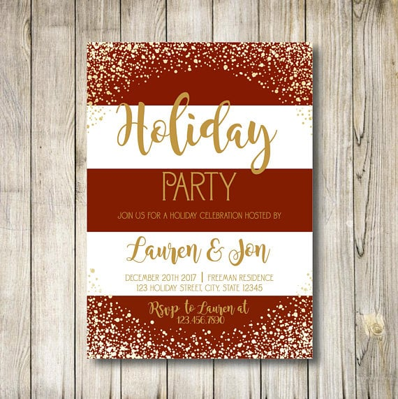 RedAndWhite Striped Holiday Party Invitation  Printable Holiday