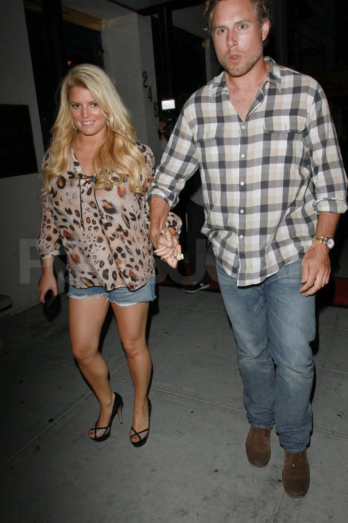 Jessica Simpson and fiancé Eric Johnson out on a date.