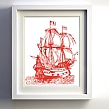 Vintage Ship Illustration Print ($22)