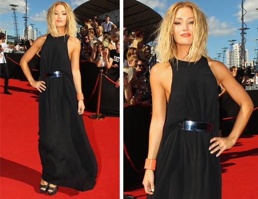 Pictures of Erin McNaught on the red carpet at the 2011 ARIA Awards in long black maxi dress: Rate or Hate It?