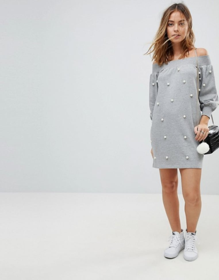 ASOS Off Shoulder Mini Sweat Dress With Pearl