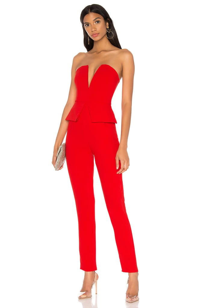 Superdown Pepper Strapless Jumpsuit in Red