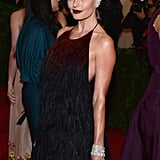 Kate Bosworth arrived at the Met Gala in a feathered gown.