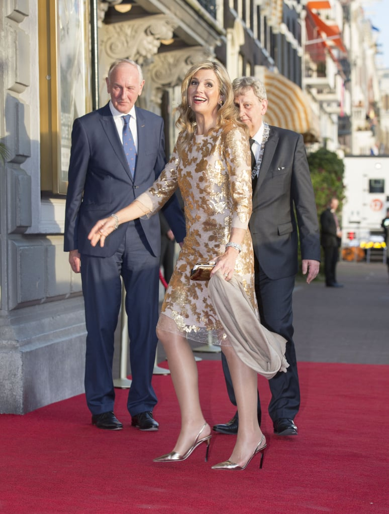 Queen Maxima Gold Natan Dress at Liberation Day Concert 2016